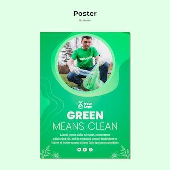 Modelo de cartaz limpo significa verde