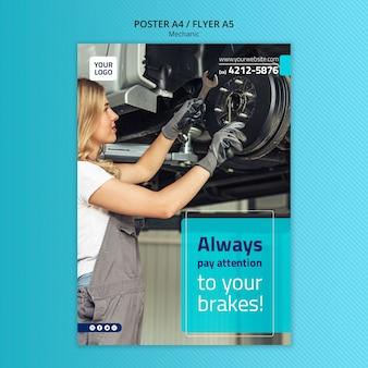 Modelo de cartaz mecânico a4 com foto