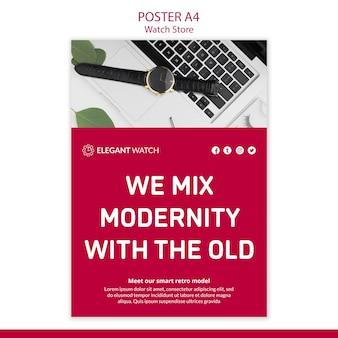 Modelo de cartaz - modernidade com relógios antigos