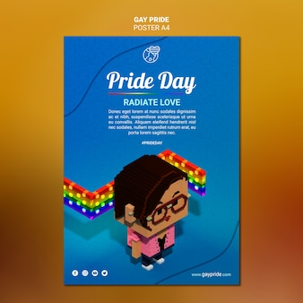 Modelo de cartaz - orgulho gay colorido