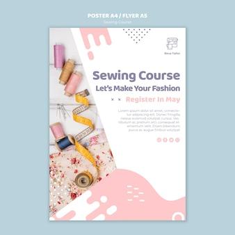 Modelo de cartaz ou folheto de curso de costura