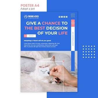 Modelo de cartaz para adotar um animal de estimação com gato