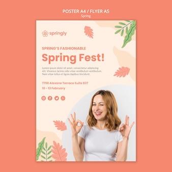 Modelo de cartaz para o festival da primavera