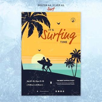 Modelo de cartaz para o tempo de surf