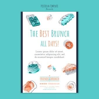 Modelo de cartaz para restaurante brunch