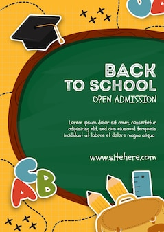 Modelo de cartaz para voltar ao evento da escola