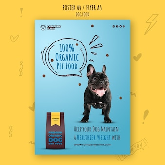 Modelo de cartaz premium de alimentos para animais orgânicos