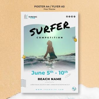 Modelo de cartaz - surfista