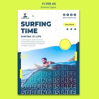 Modelo de cartaz - tempo de surf no verão