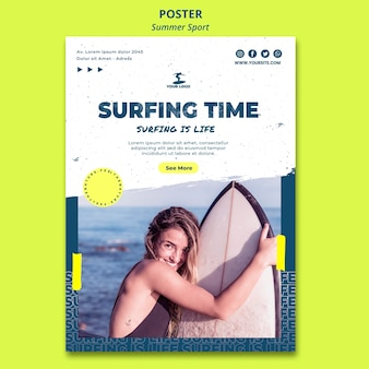 Modelo de cartaz - verão tempo de surf