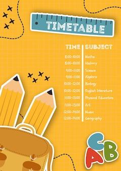 Modelo de cartaz vertical com calendário