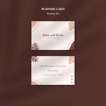 Modelo de cartões de visita para o dia do casamento