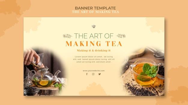 Modelo de casa de chá de banner