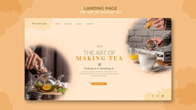 Modelo de casa de chá de página de destino