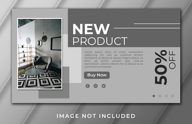 Modelo de casa e móveis de banner de página de destino de novo produto