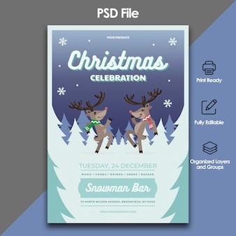 Modelo de celebração e convite de natal