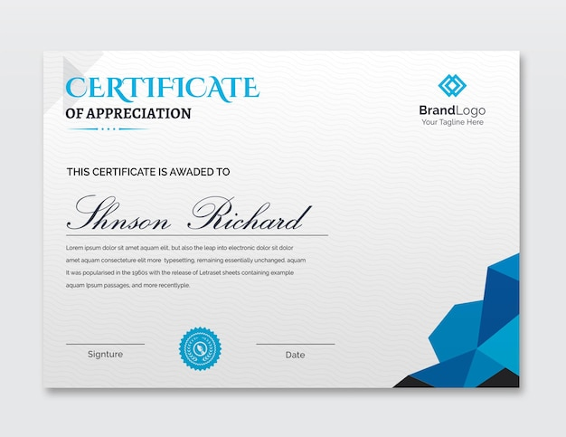 Modelo de certificado abstrato simples