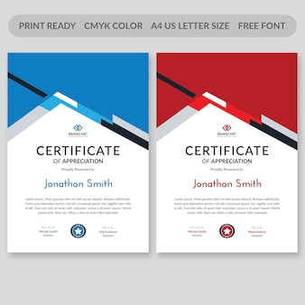 Modelo de certificado azul e vermelho psd