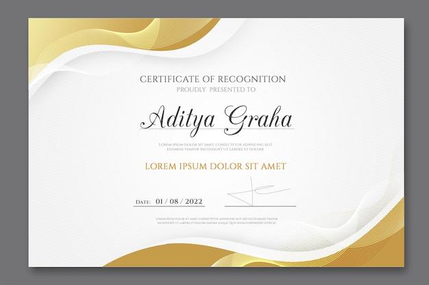 Modelo de certificado de conquista elegante com formas douradas