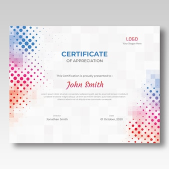 Modelo de certificado de mosaico colorido e meio-tom