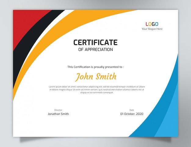 Modelo de certificado de ondas multicoloridas