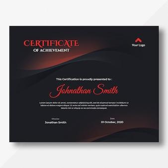 Modelo de certificado de ondas vermelho e preto escuro