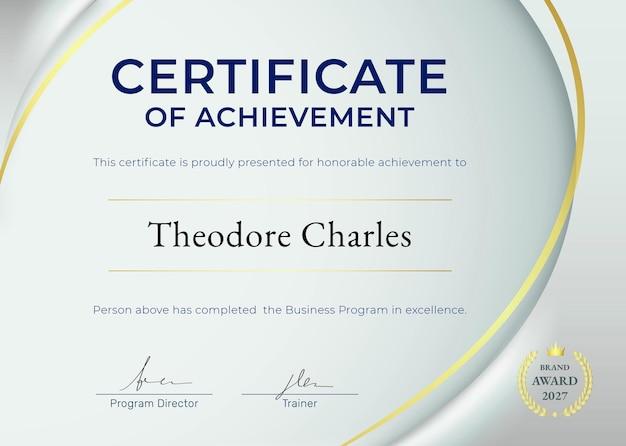 Modelo de certificado de realização psd em design de luxo