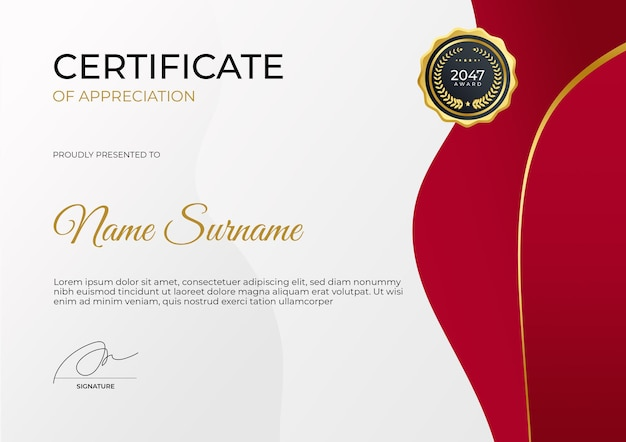 Modelo de certificado de valorização em ouro vermelho moderno. terno para prêmio de negócios corporativos e educacionais