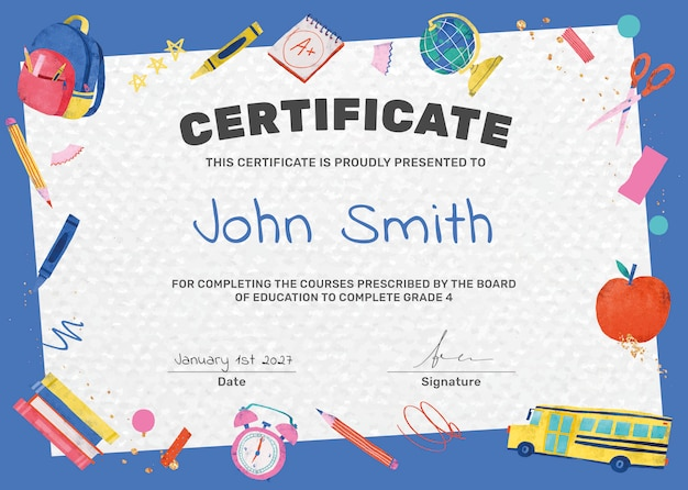 Modelo de certificado elementar colorido psd com gráficos bonitos de doodle