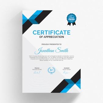 Modelo de certificado moderno com detalhes azuis
