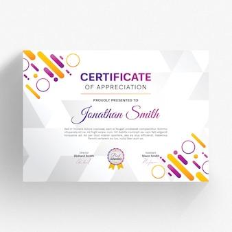 Modelo de certificado moderno com detalhes coloridos
