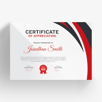 Modelo de certificado moderno com detalhes vermelhos