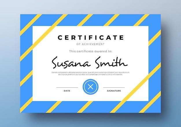 Modelo de certificado moderno com moldura colorida