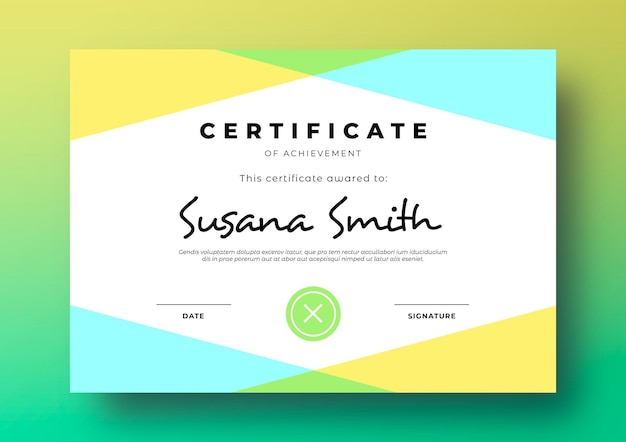 Modelo de certificado moderno com moldura geométrica e colorida