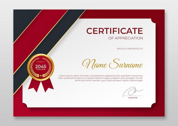 Modelo de certificado moderno de gradiente certificado de emblema de ouro vermelho de luxo do modelo de realização