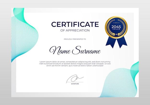Modelo de certificado moderno de gradiente certificado de emblema dourado de luxo do modelo de realização