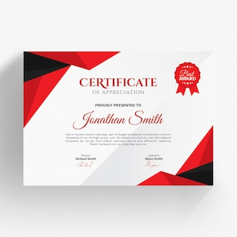 Modelo de certificado moderno de vermelho e preto