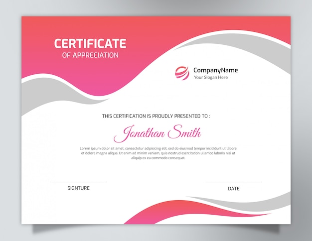Modelo de certificado rosa colorido brilhante