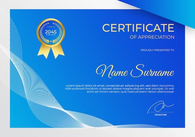 Modelo de certificado simples e moderno em ouro azul para negócios e corporações