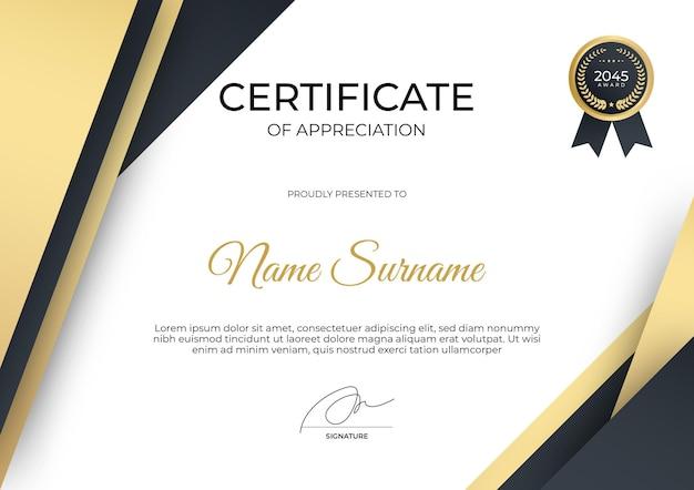 Modelo de certificado simples e moderno em ouro preto para seminário on-line sobre educação corporativa corporativa