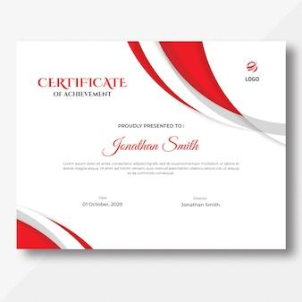 Modelo de certificado vermelho abstrato