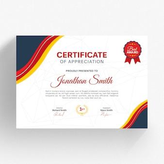 Modelo de certificado vermelho moderno