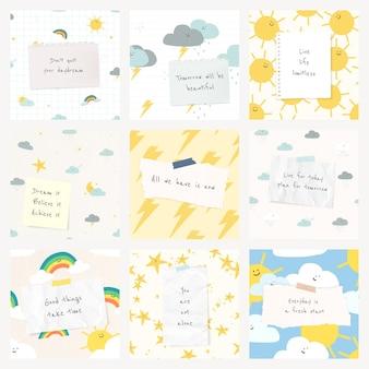 Modelo de citação alegre psd citação com lindos desenhos meteorológicos post conjunto de mídia social