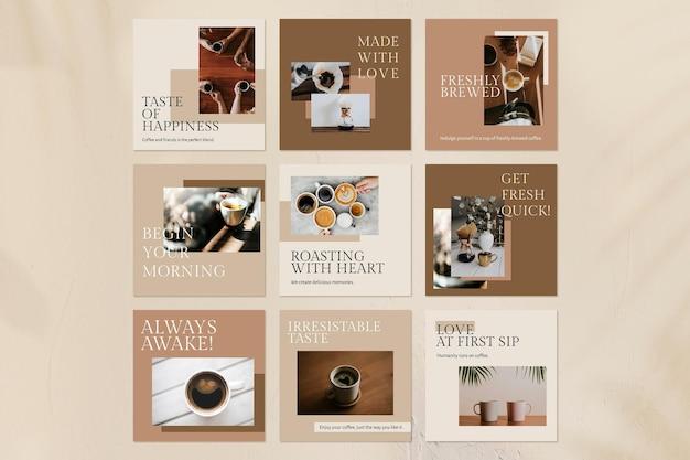 Modelo de citação de café psd definido para postagem em mídia social