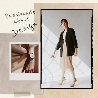 Modelo de colagem de design apaixonado psd moda postagem em mídia social em tom de terra