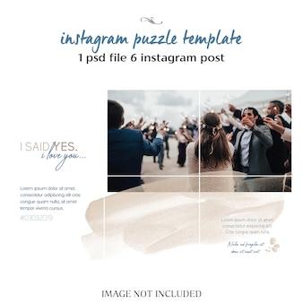 Modelo de colagem de instagram de casamento romântico