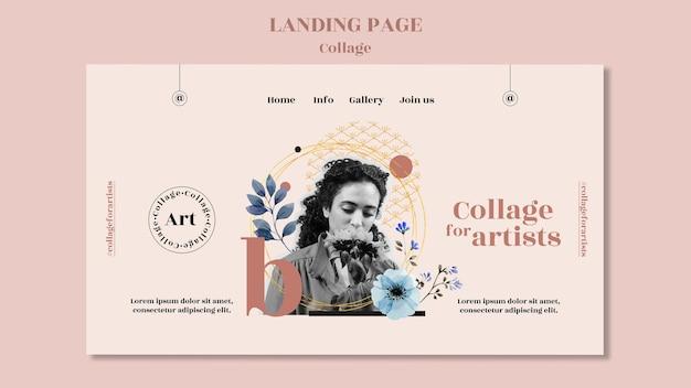 Modelo de colagem de página de destino para artistas
