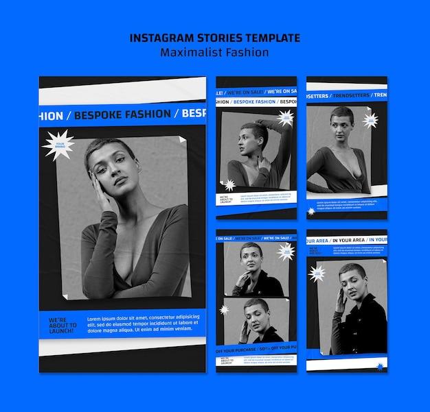 Modelo de coleção de moda para histórias do instagram