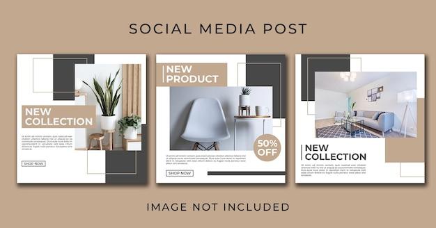 Modelo de coleção de móveis para postagem de mídia social