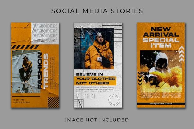 Modelo de coleção de streetwear de história em mídia social